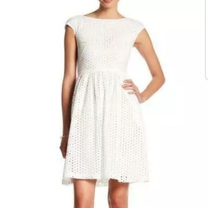 Donna Morgan Cap Sleeve Fit Flare Eyelet Dress 14